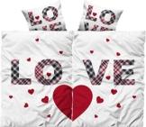 Leonado Vicenti 4 teilig Love Partner Bettwäsche 135x200 cm Doppelpack Microfaser Bezüge Pärchen Herz Liebe mit Reißverschluss -