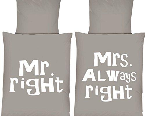 Mikrofaser Wende Bettwäsche Set Schriftzug Mr Right Mrs Always