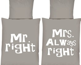 Mikrofaser WENDE Bettwäsche Set Schriftzug Mr. Right Mrs. Always Right grau-weiß 135 x 200 cm mit Reißverschluss -