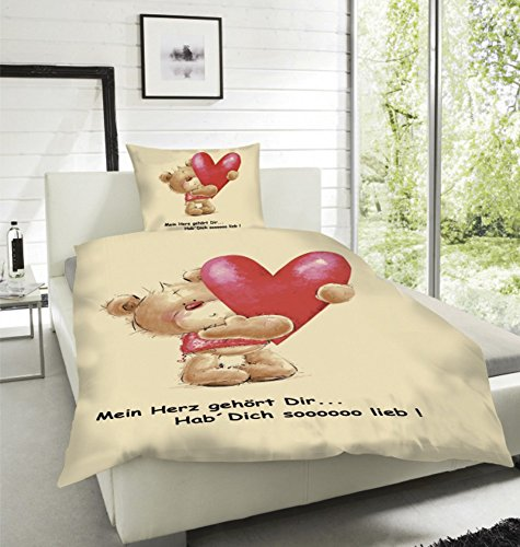 Wende Bettwäsche Mikrofaser Herzen Love Herz Liebe Bärchen Partner Sweet Kissen, Größe:135 x 200 cm -