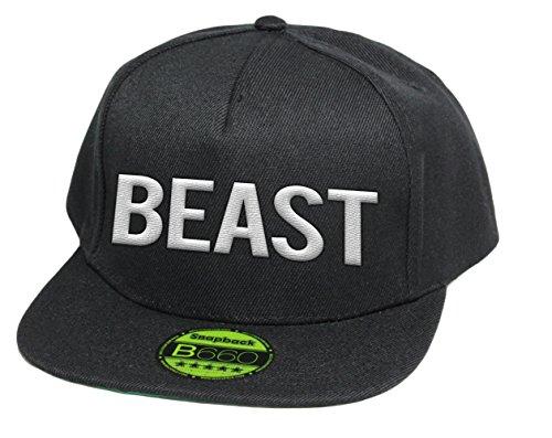 Beast, Snapback Cap mit Leuchtgarn bestickt, Neon im Dunkeln, 6-Panel, Neuheit! / pureblack -