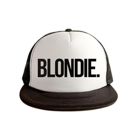 Blondie Cool Swag Hip Hop Druck 80s Style Snapback Hut Kappe Weiß Schwarz -