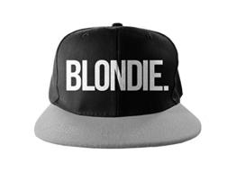 Blondie Cool Swag Hip Hop Druck Snapback Hut Kappe Schwarz Grau -