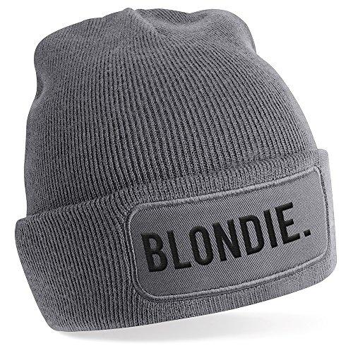 Blondie., Motiv auf Beanie Mütze - warme Wintermütze - modisches Accessoire - Unisex - für Mann und Frau - classic - Vielzahl an Motiven und Designs / Grey -