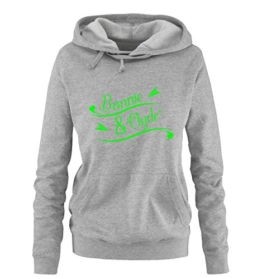 BONNIE AND CLYDE - BASIC III - Damen Hoodie - Grau / Neongrün Gr. XXL -