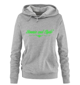 BONNIE AND CLYDE - BASIC IV - Damen Hoodie - Grau / Neongrün Gr. XXL -