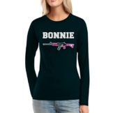 Bonnie Damen Langarm-Schwarz Medium T-Shirt - Clyde -