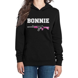 Bonnie Damen Schwarz Medium Kapuzenpullover Hoodie - Clyde -