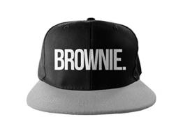Brownie Cool Swag Hip Hop Druck Snapback Hut Kappe Schwarz Grau -