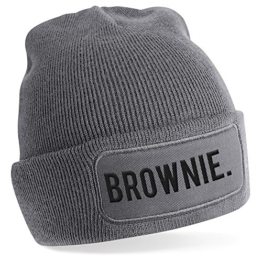 Brownie., Motiv auf Beanie Mütze - warme Wintermütze - modisches Accessoire - Unisex - für Mann und Frau - classic - Vielzahl an Motiven und Designs / Grey -