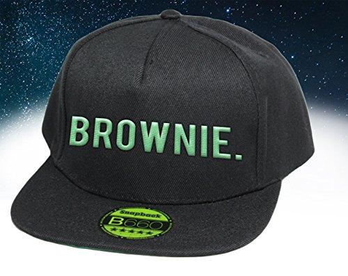 Brownie, Snapback Cap mit Leuchtgarn bestickt, Neon im Dunkeln, 6-Panel, Neuheit! / pureblack -