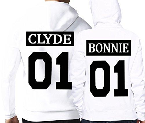 Cold & Heartless Partner Look Pärchen Hoodie Set Bonnie Clyde für Pärchen als Geschenk (Damen Gr. M + Herren Gr. XL, Weiß) -