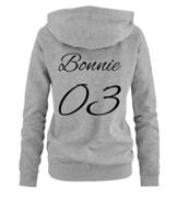 Comedy Shirts - BONNIE 03 - MOTIV - Damen Hoodie - Grau / Schwarz Gr. L -