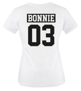 Comedy Shirts - BONNIE 03 - NEGATIV - Damen T-Shirt - Weiss / Schwarz Gr. M -