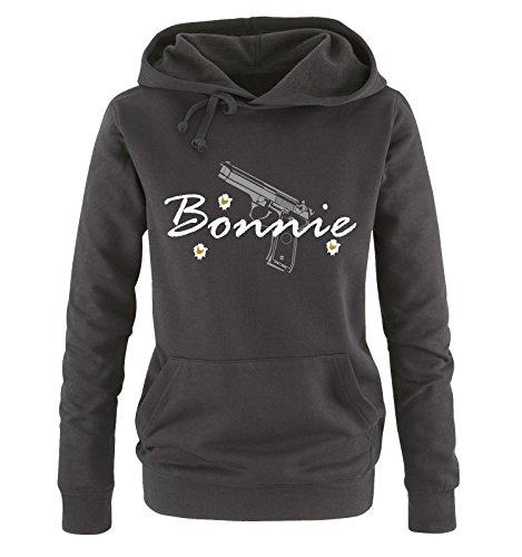 Comedy Shirts - BONNIE - Damen Hoodie - Schwarz / Weiss-Grau-Gold Gr. M -