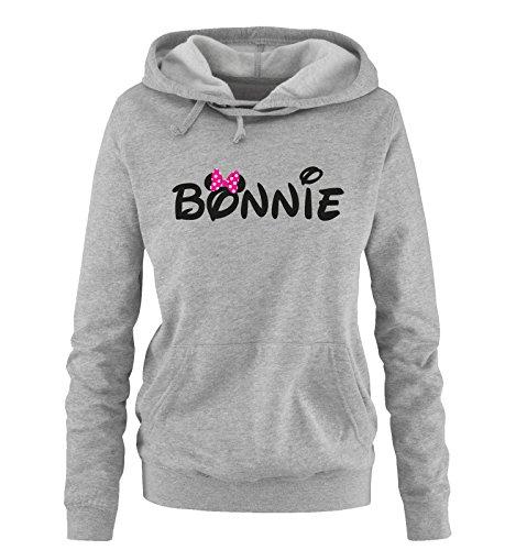 Comedy Shirts - BONNIE - Minnie - Damen Hoodie - Grau / Schwarz-Pink Gr. S -