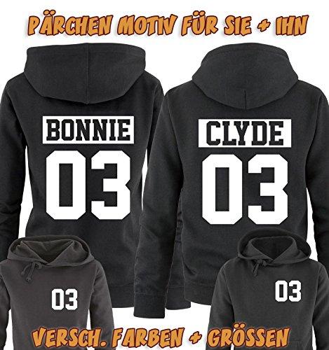 Comedy Shirts - CLYDE 03 - NEGATIV - Herren Hoodie - Grau / Schwarz Gr. M -