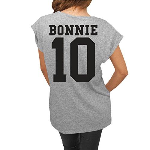 Frauen und Damen lässiges Shirt Bonnie & Clyde BLACK (mit Rückendruck) -