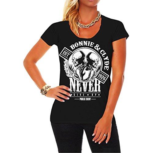 Frauen und Damen T-Shirt Bonnie & Clyde GANGSTER (mit Rückendruck) -