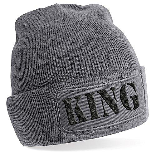 KING , Motiv auf Beanie Mütze – warme Wintermütze – modisches Accessoire – Unisex – für Mann und Frau – classic – Vielzahl an Motiven und Designs / Grey -