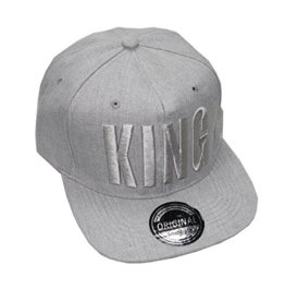 King Queen Snapback Cap Caps Herren Damen (King gray) -