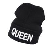König-und Königin-Buchstabe-Stickerei-Schädel-Hut-Valentinstag-Liebe-Paare zusammenpasste gestrickte Kappe Gfit (Queen) -