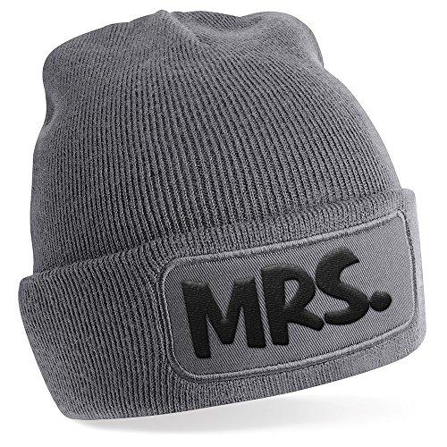 Mrs., Motiv auf Beanie Mütze – warme Wintermütze – modisches Accessoire – Unisex – für Mann und Frau – classic – Vielzahl an Motiven und Designs / Grey -