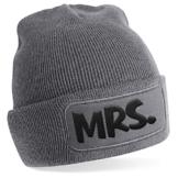 Mrs., Motiv auf Beanie Mütze - warme Wintermütze - modisches Accessoire - Unisex - für Mann und Frau - classic - Vielzahl an Motiven und Designs / Grey -