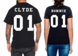 Partner Look Pärchen T-Shirt Set Bonnie Clyde für Pärchen als Geschenk in versch. Farben S-4XL, Farbe:Schwarz;Größe:Damen Gr. M + Herren Gr. L -
