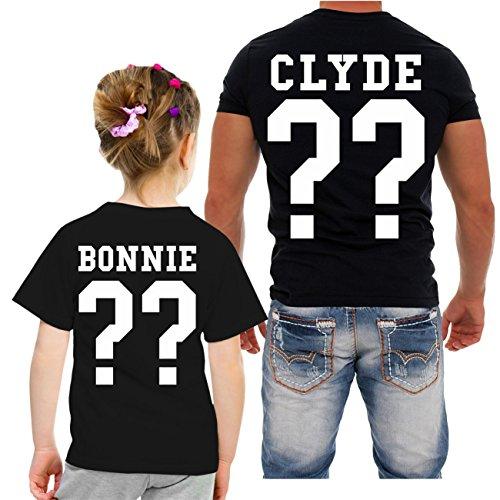 Partnershirt VATER & TOCHTER Bonnie & Clyde (mit Rückendruck) -