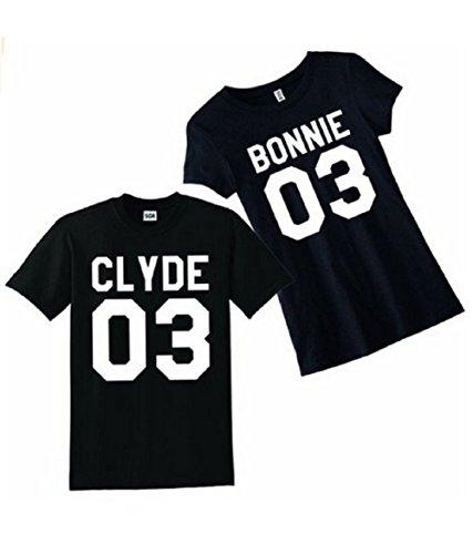 """Qissy®Liebhaber Hemd """"CLYDE BONNIE 03"""" Neck T-Shirt Letter Print Beiläufige Paare in der Bulk-Blusen-Oberseiten -T-Shirt (S, Schwarz) -"""
