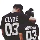 """Qissy®Liebhaber Hemd """"CLYDE BONNIE 03"""" Neck T-Shirt Letter Print Beiläufige Paare in der Bulk-Blusen-Oberseiten -T-Shirt (L, Schwarz) -"""