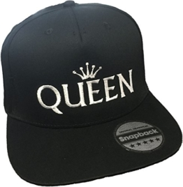 Snapback bestickt mit Motiv Krone | KING & QUEEN | in weißer Schrift Stickerei Partner-Cap für Sie & Ihn (QUEEN) -