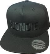 Snapback Ton-in-Ton bestickt mit Motiv BLONDIE & BROWNIE in schwarzer Schrift Stickerei Partner-Cap für Sie & Ihn (BLONDIE.) -