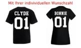 TRVPPY Damen T-Shirt Modell BONNIE + Wunschzahl Farbe Schwarz Größe M -