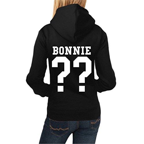 WUNSCHZAHL Frauen Kapuzenpullover Bonnie & Clyde WHITE (Rückendruck mit Wunschzahl) -