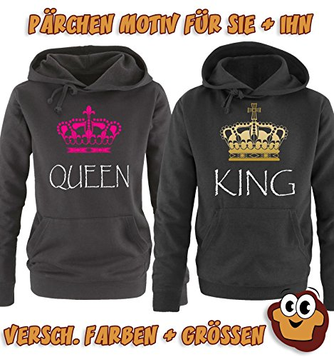 Comedy Shirts - QUEEN - Damen Hoodie - Grau / Schwarz-Gold Gr. S -