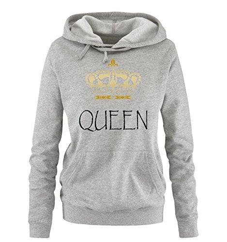 Comedy Shirts - QUEEN - Damen Hoodie - Grau / Schwarz-Gold Gr. S -