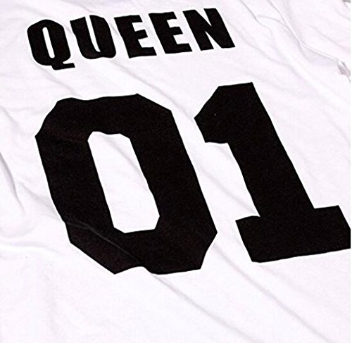 King Queen T-shirt Set für Paar JWBBU ® könig königin t-shirt Hochzeitstagsgeschenk Geburtstagsgeschenk 2 Stücke (king-S+WH-queen-S) -