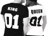 Partner Look Pärchen T-Shirt Set King Queen T-Shirts Hochzeitstagsgeschenk Geburtstagsgeschenk Jahrestagsgeschenk (Damen Gr. M + Herren Gr. M) -